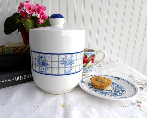 Blue And White Stoneware Cookie Jar Biscuit Jar Kitchen Canister 1980s