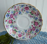 Pretty Chintz Border Cup and Saucer English Bone China 1980s Royal Victoria