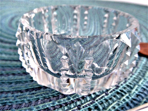 Crystal Open Salt Master Prism Notched Faceted Germany 1960-1980s