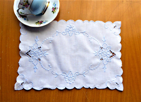 Blue On White Doily Cut Work Vintage 1980s Handmade Tray Cloth Vanity