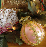 Boxed Pink Mouth Blown Glass Christmas Tree Ornament W Germany Inge Glas