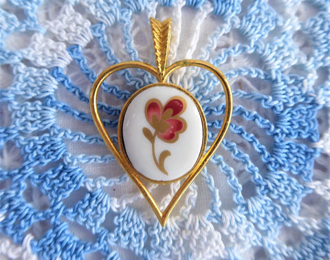 Villeroy And Boch Heart Pendant 1980s Red Flower 24kt Gold Plated Danbury Mint