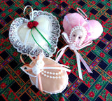 Romantic Christmas Ornaments 3 Satin Pearls Lace 1980s Victorian Style Box Heart Face Pink