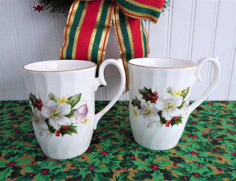 Christmas Rose Mug Pair England Holiday 1980s Holly Goebel Arthur Wood Bone China