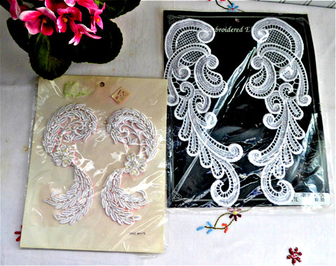 Unopened 1980s Lace Applique Pairs Lace Inset White Pearls Lace Collar Crafts