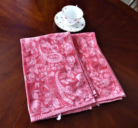 Pair red Fruit Jacquard Weave Dish Towels 1980s Tea Towels Paisleys Cotton