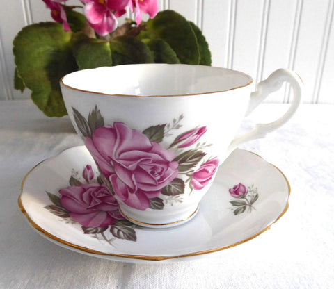 Pretty Pink Roses 1980s Cup And Saucer Royal Ascot English Bone China