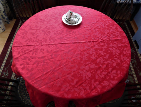 Red Holly Damask Tablecloth 70 Inches Round 1980s Christmas Tea Dinner Party