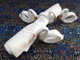 Napkin Rings Set Goose Swan 4 White Hand Painted Ceramic Figural Geese Birds