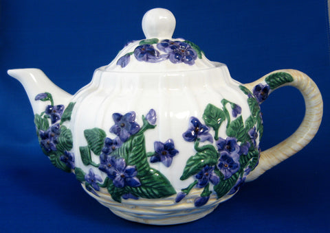 Teapot Raised Violets Ceramic Large Hand Painted Violets In Basket 1980s