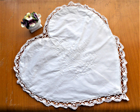 Embroidered Heart Shape Pillow Sham 1980s Lily Of The Valley Cutwork Bobbin Lace