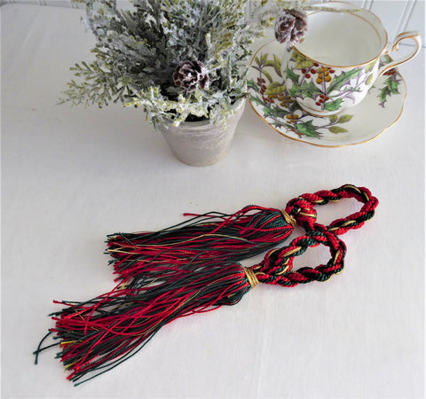 Pair Tassels Christmas Colors 1980s Red Gold Green Holiday Ornaments Napkin Rings