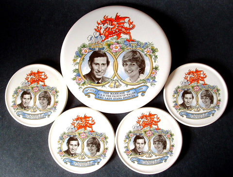 Royal Wedding Princess Diana Charles Tea Tile And Coasters 1981 Photos Boxed Set