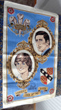 Tea Towel Royal Wedding Charles Diana 1981 Linen Blue Dish Towel