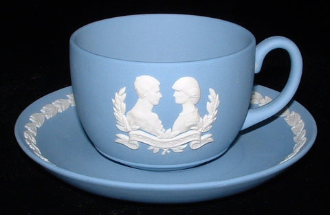 Prince Charles And Lady Diana Cup And Saucer Wedgwood Jasper Wedding 1981
