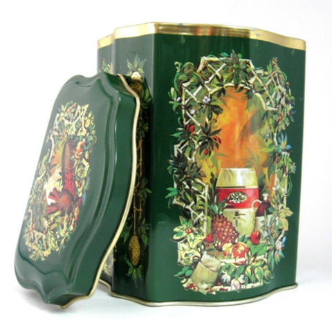 Tea Tin Christmas 1981 Green Gold Daher For Avon Tea Caddy Canister