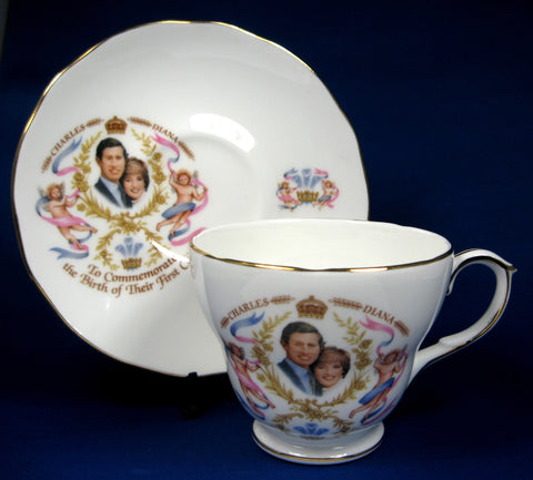 Prince William Birth Charles And Diana Cup And Saucer 1982 Bone China