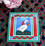 Christmas Colors 1985 Goose Tile Trivet Retro Country Goose Mid Century Willetts