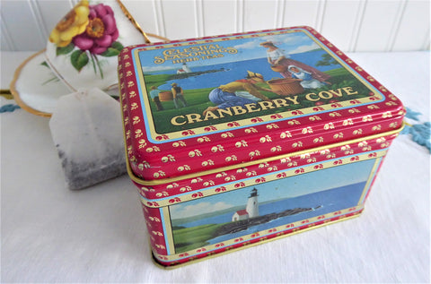 Vintage Cranberry Cove Tea Tin 1985 Celestial Seasonings Tea Storage Ocean Scene