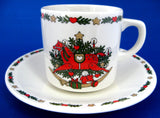 Christmas Cup And Saucer Rocking Horse Tree Toys 1980s Holiday