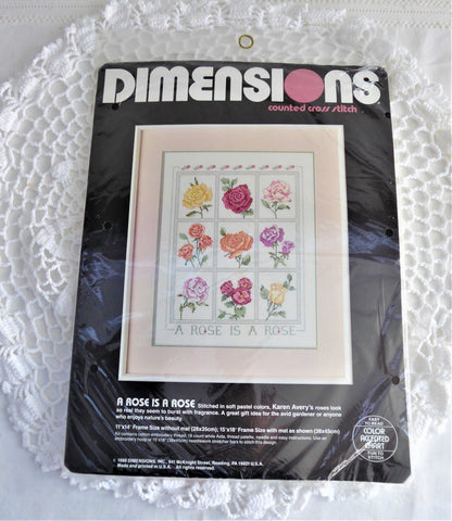 Cross Stitch Kit A Rose Is A Rose Unopened 1988 Thread Chart Aida Needle Dimensions