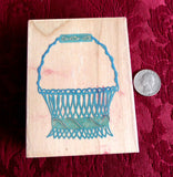 French Wire Basket Rubber Stamp Posh Impressions 1990s Wood Mounted Invitations