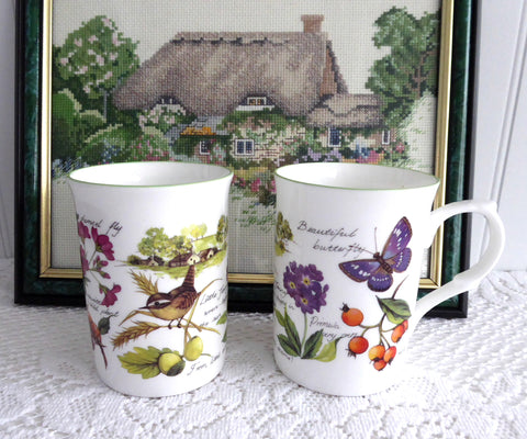 English Village Garden Birds Mug Pair Bone China 1990s Charming Tea Mugs