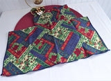 Christmas Patchwork Napkins Set of 4 Cotton Napkins 1990s Holiday Tea Party