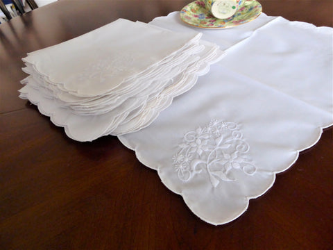 Napkins 18 White On White Embroidered Dinner Napkins 1980s Floral Tea Party
