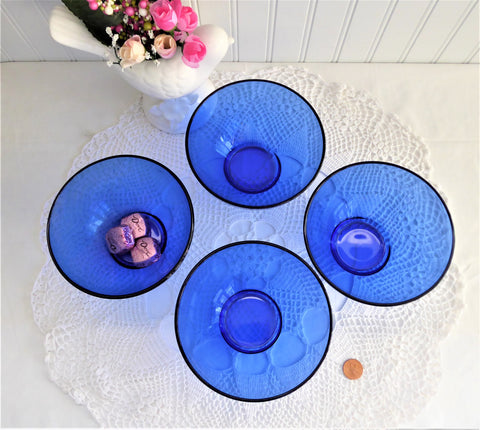 Cobalt Blue Glass Bowls Four Berry Bowls Dessert 5 Inch Diameter Arcoroc France 1990s