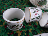 Christmas Holly Napkin Ring Set Of 6 White Ceramic Pretty Red Green And Gold