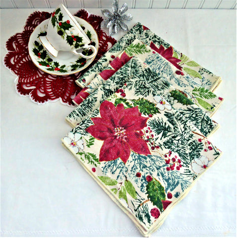 Christmas Napkins Set of 4 Poinsettias Holly Pine 16 Inch Napkins 1990s Holiday Tea Party