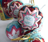 Christmas Ornaments Set of 5 Handmade Cross Stitch Patchwork Aqua Salmon Pink Burgundy