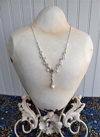Rhinestone Necklace Bracelet Earrings Set Y Necklace Pearl Drops Leaves Romantic