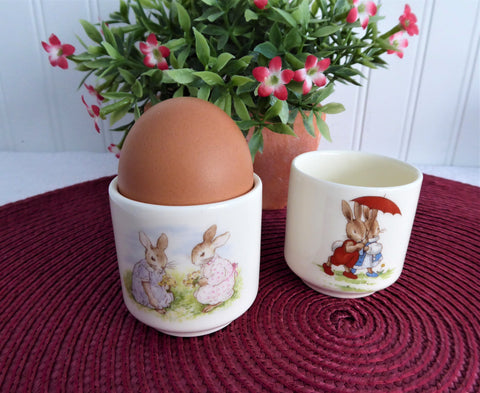 Bunnykins Eggcups Pair Bunny Family Royal Doulton England Character Collectibles 1990s