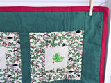 Christmas Quilt Wall Hanging Chickadees Holly Beads Table Topper Holiday Decor