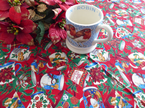 Christmas Mugs Pattern Tablecloth 52 By 46 Christmas Tea Metallic Handmade