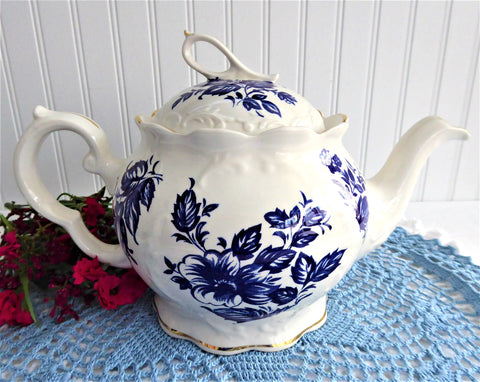 Blue And White Large Teapot English Crown Dorset 1990s Fancy Floral