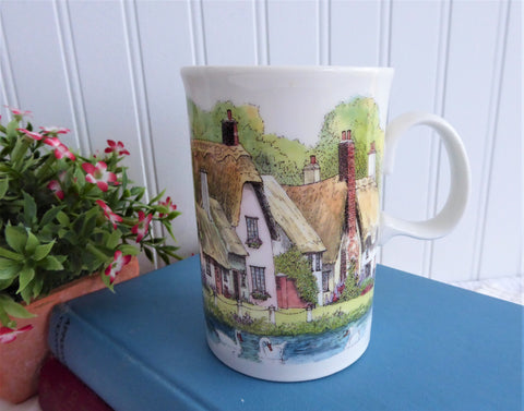 Dunoon Mug English Thatched Cottages Village Stoneware 1990s