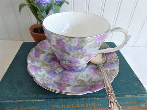 Hydrangea Chintz Cup and Saucer English Bone China 1990s Royale Garden