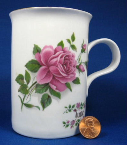 June Mug Pink Roses For English Bone China 1990s June Flower Of The Month
