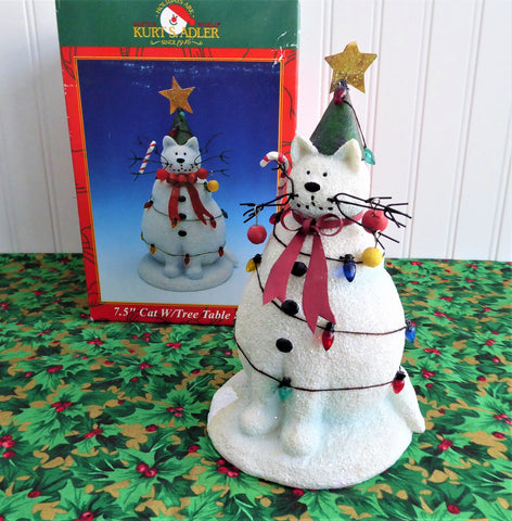 Christmas Cat With Tree 7.5 Inch Table Sculpture Decor 1990s Boxed Cat Snowman