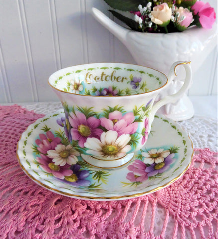 October Cosmos Cup And Saucer Royal Albert Flower Of The Month 1970s