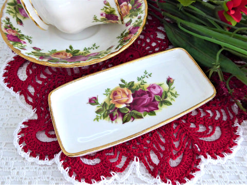 Trinket Dish Tray Royal Albert Old Country Roses Round 1990s Made in UK