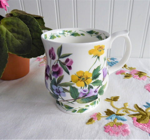 RHS Queens Mug Buttercups Pink Lavender Flowers English Bone China 1990s Lilian Snelling