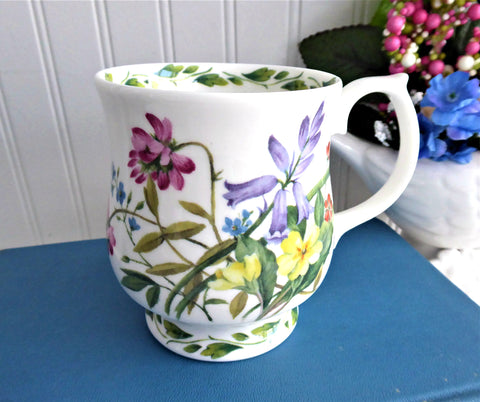 Mug Buttercups Harebells Clover Buttercups English Bone China 1990s RHS Queens