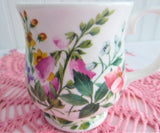 Mug Pink Foxgloves Violets English Bone China 1990s RHS Queens Country Flowers