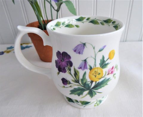 Mug The Garden RHS Queens Purple Yellow Lavender Flowers English Bone China 1990s