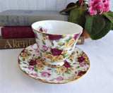 Pretty Rose Chintz Teacup Royal Patrician England Bone China Multicolor Roses