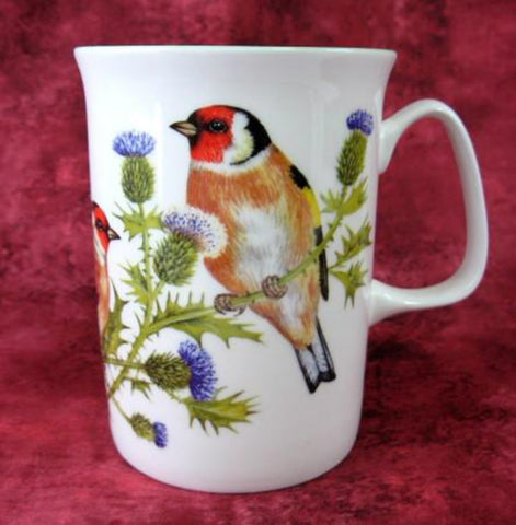 English Goldfinch Mug Birds English Bone China Purple Thistles 1990s